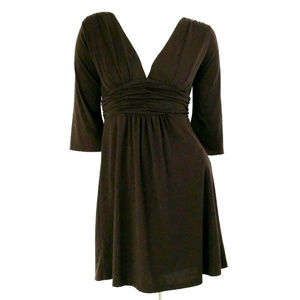 R Tease Brown 3/4 Sleeve Ruched Waist A-Line Dress